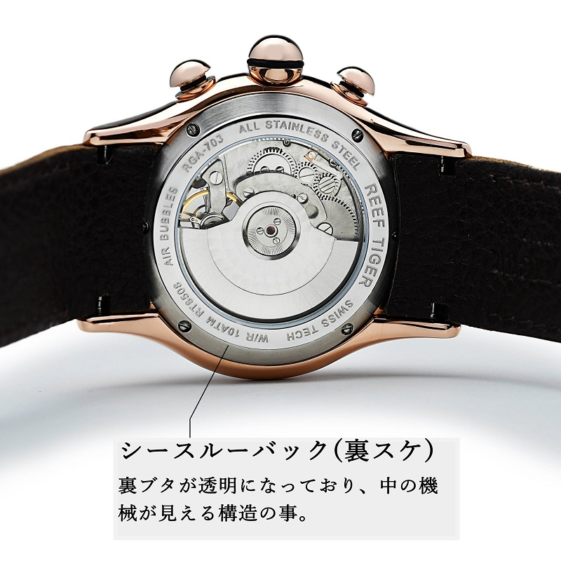 シースルーバック(裏スケルトン)の時計
